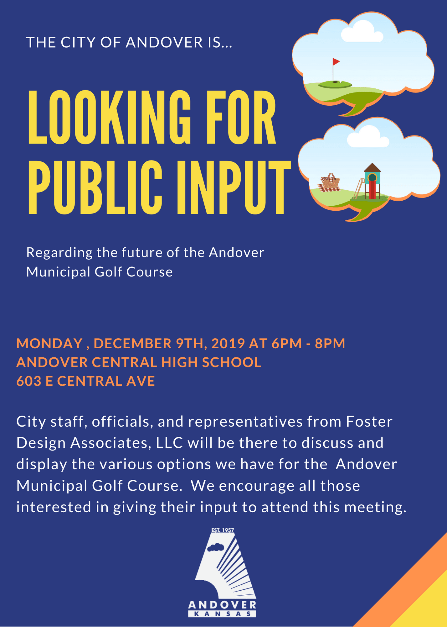 Public Input Invitation regarding municipal golf course on 12-09-19 at ACHS from 6pm-8pm