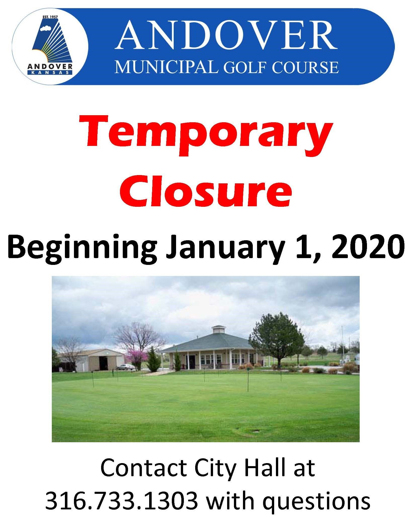 Golf Course - Temporary Closure beginning 1/1/2020