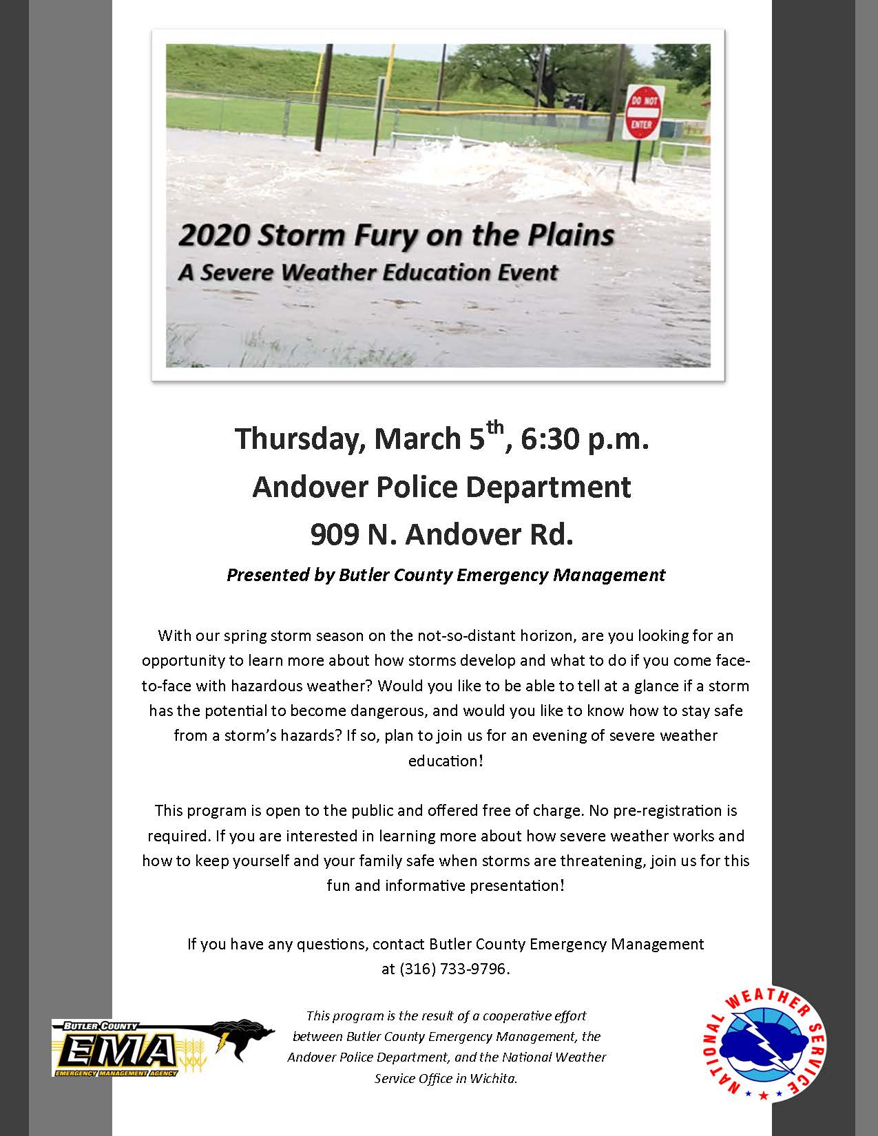 Storm Fury 2020 Flyer - 03-05-2020 at 6:30pm at Andover PD