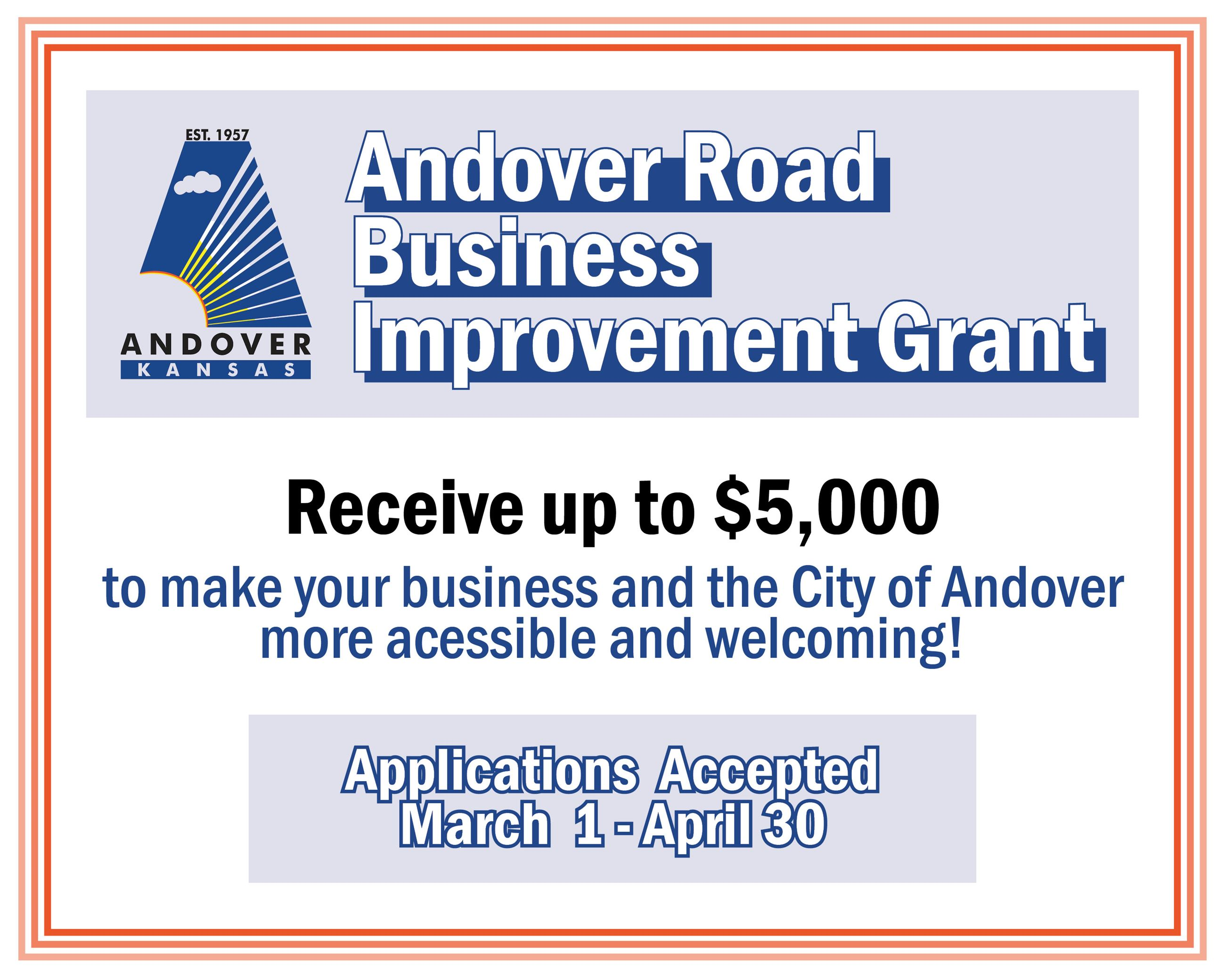 2021 Andover Road Business Grant Applications will be accepted March 1-April 30