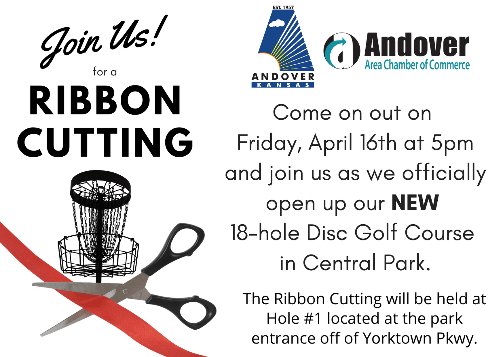 Disc Golf Ribbon Cutting on 041621 at 5pm in Central Park