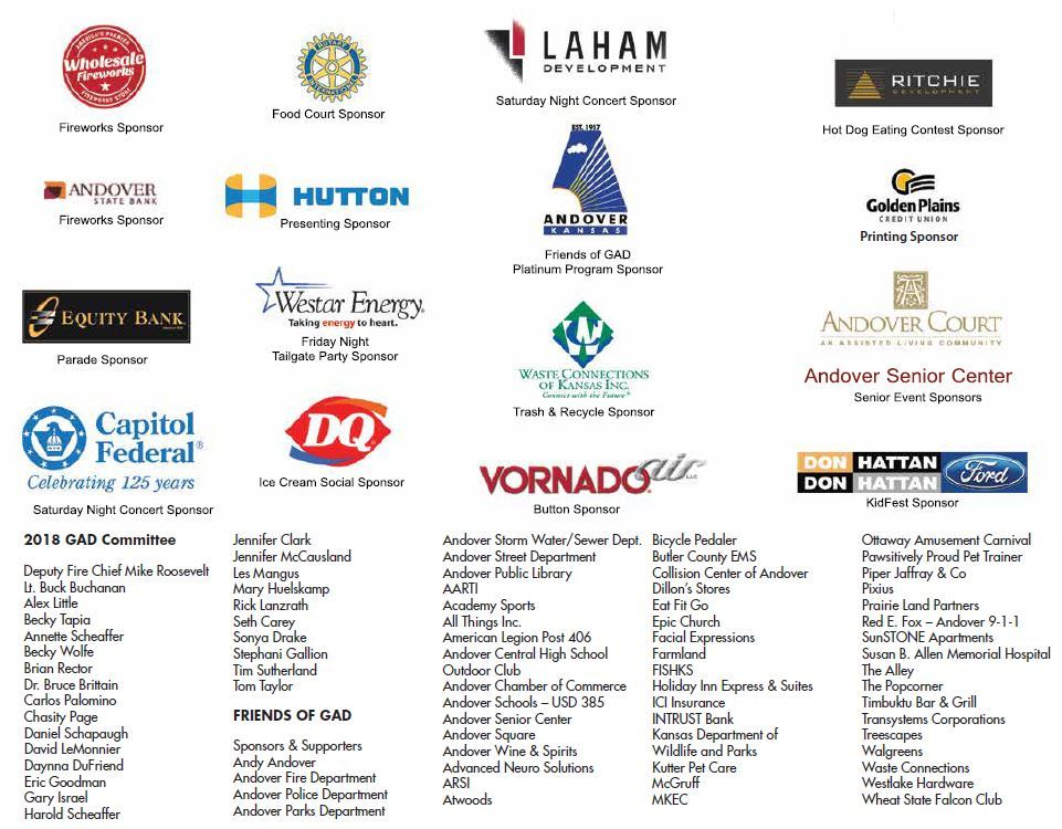 2018 GAD Sponsors and Volunteers