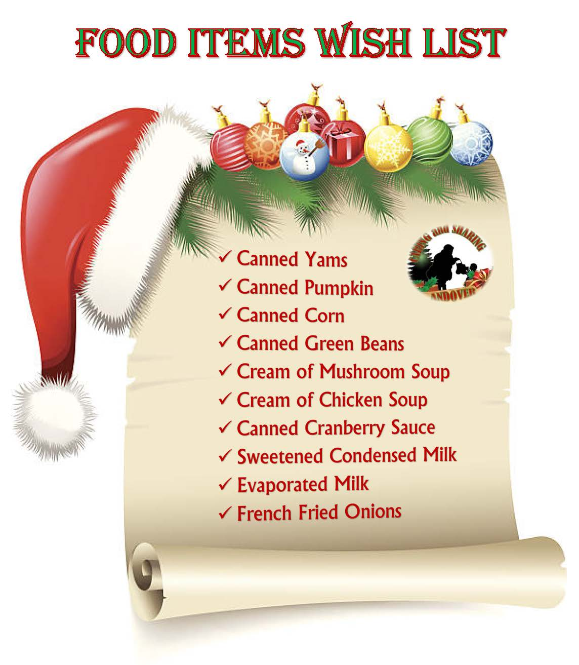 2019 Food Wish List - canned yams, pumpkin, corn, green beans, cream of mushroom soup, chicken soup,