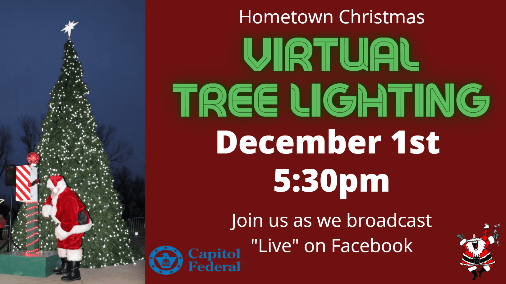 Virtual Tree Lighting Live on Hometown Christmas Facebook Page December 1st at 5:30pm Opens in new window